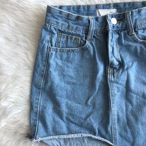 Dresses & Skirts - Asymmetric Denim Mini Skirt